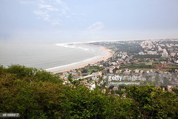 City and the coastline viewed from Kailasagiri Park, Visakhapatnam, Andhra Pradesh, India.