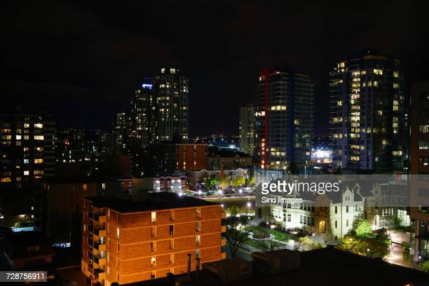 city at night, canada - image stock pictures, royalty-free photos & images