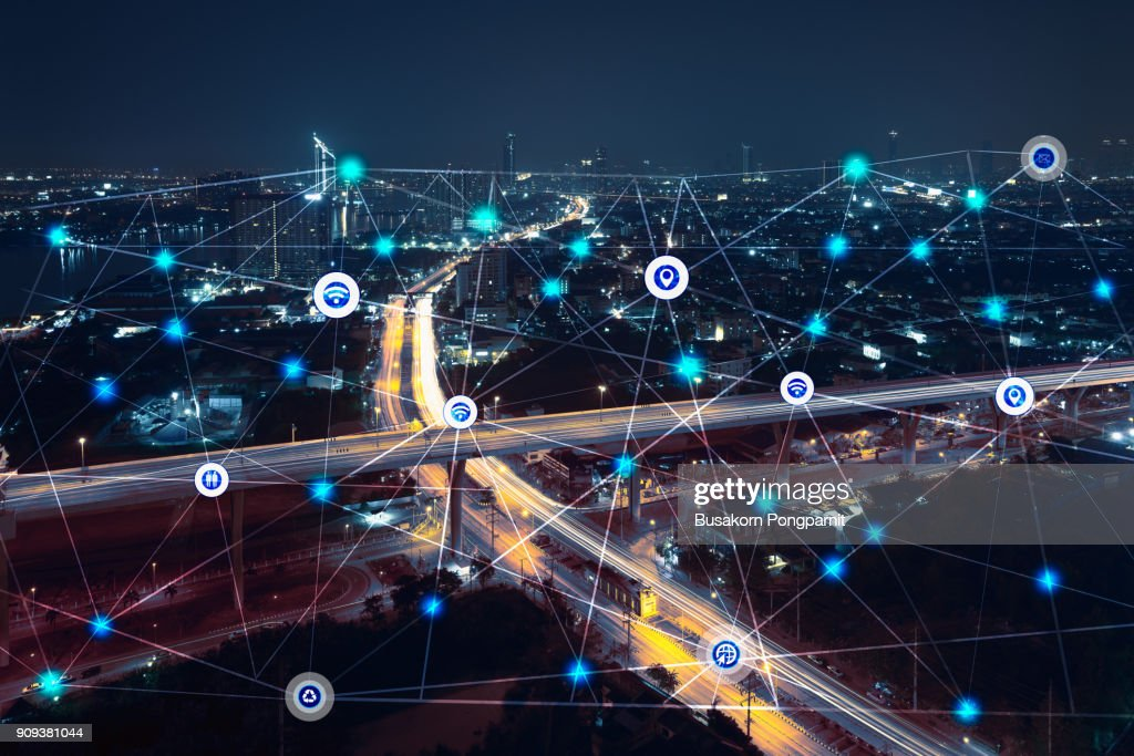 city at night with communication icons and network lines mix media concept background : Stock Photo