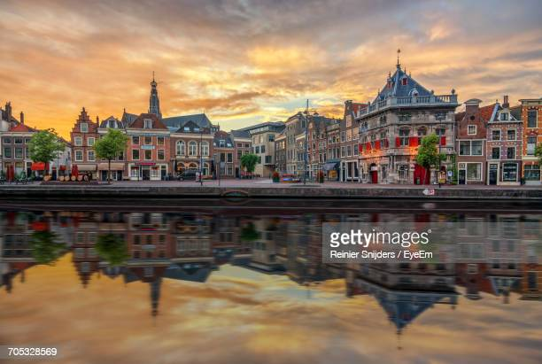 city at sunset - haarlem stock photos and pictures