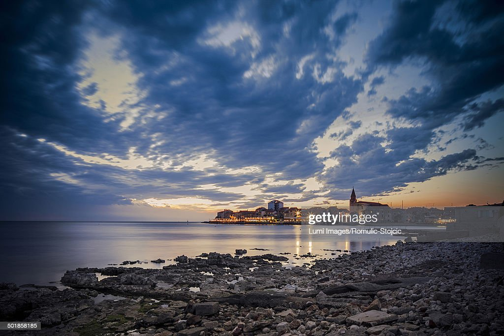 City at sunset, Umag, Istria, Croatia : Stock Photo