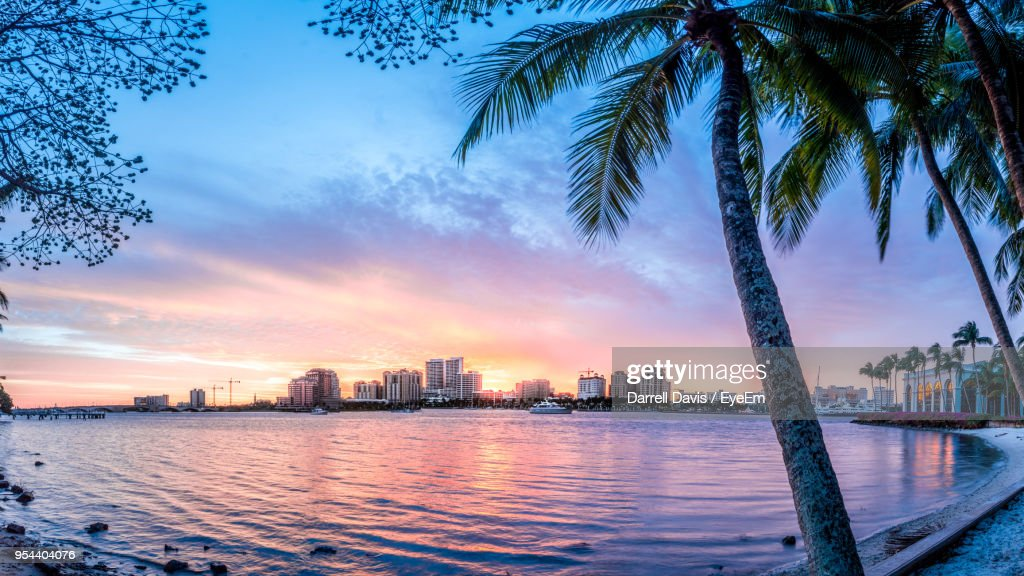 City At Waterfront During Sunset : Stock Photo