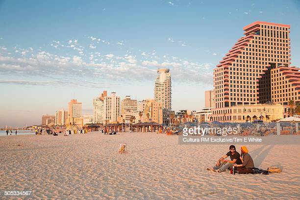City beach at sunset, Tel Aviv, Israel