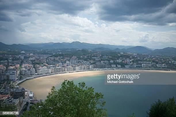 City beach Bahia de La Concha on May 12 2016 in San Sebastian Spain