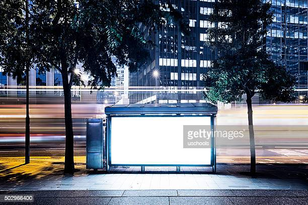 City Billboard with Modern Buildings Background