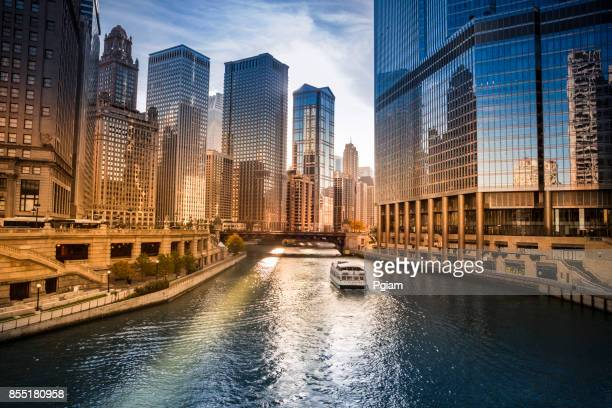 city buildings and skyline over the chicago river illinois usa - chicago river stock pictures, royalty-free photos & images