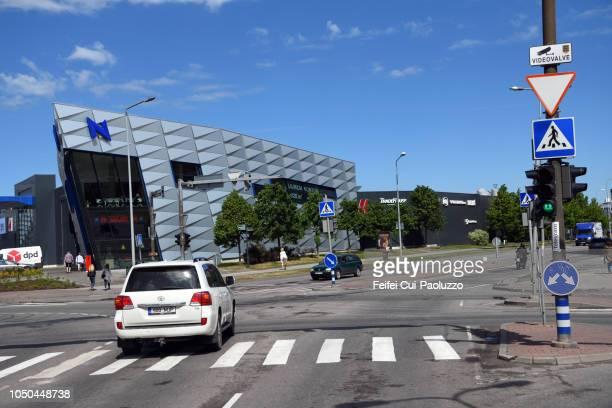City buildings and street of Tallinn, Estonia