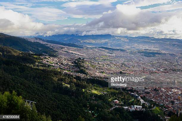 City buildings are seen from Cerro de Monserrate in Bogota Colombia on Tuesday June 16 2015 Colombia's fiscal deficit will widen next year to the...