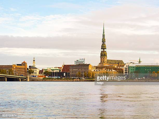 City buildings by the river in Riga, Latvia