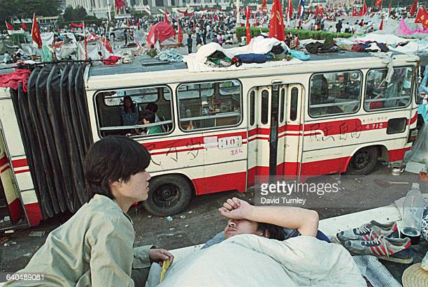 City Bus and Crowds at Tiananmen Square Protest of 1989