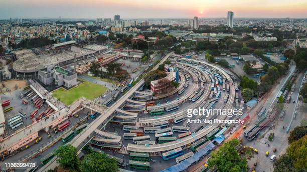 city bus-stand (majestic), kempegowda metro station - karnataka stock pictures, royalty-free photos & images