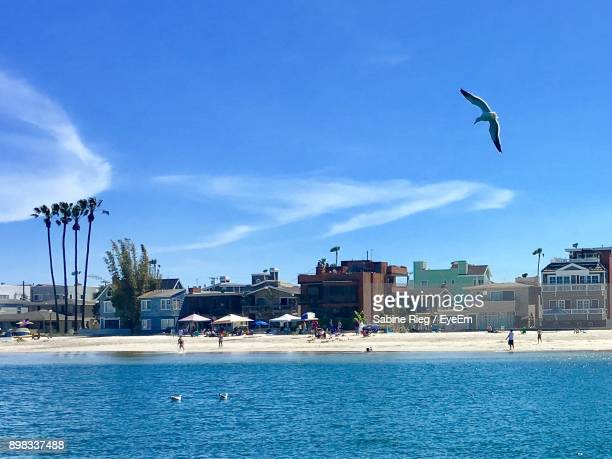 city by beach against sky - seal beach stock pictures, royalty-free photos & images