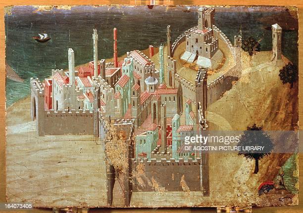 City by the sea by Ambrogio Lorenzetti painting on wood 22x33 cm Siena Pinacoteca Nazionale Buonsignori Palace
