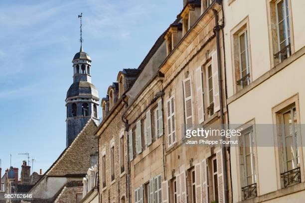 City center of Beaune with the slate tiles roof of the Former Holy Trinity Hospital, Hôpital de la Sainte-Trinité de Beaune, Burgundy, Bourgogne, France