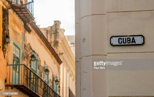 city center of havanna, cuba street, old havana - road sign board stock pictures, royalty-free photos & images