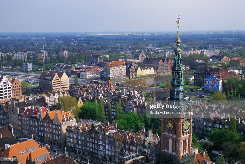 City centre from high view point, Gdansk, Pomerania, Poland, Europe : Foto de stock