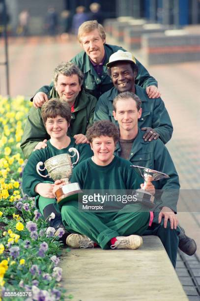 City Centre gardeners won the Britain in Bloom competition and are pictured with their trophies in Centenary Square Birmingham Pictured are Denise...