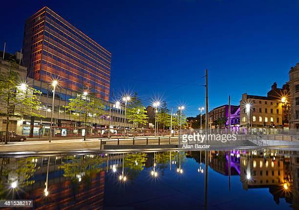 City centre of Nottingham at night