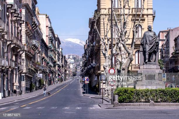 City centre streets empty on Easter Monday on April 13 2020 in Catania Italy Easter celebrations go on throughout Italy which remains still in...