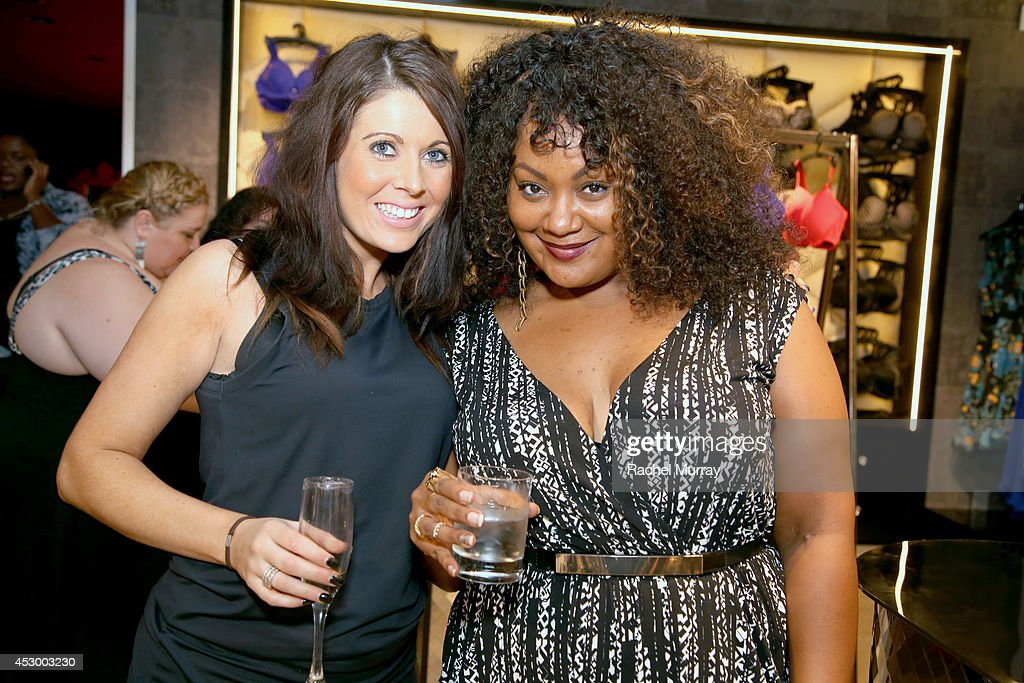 City Chic's Carley Turner (L) and Host Marie Denee attend the City Chic Exclusive Preview: First U.S Store Culver City at Westfield Culver City Shopping Mall on July 31, 2014 in Culver City, California.