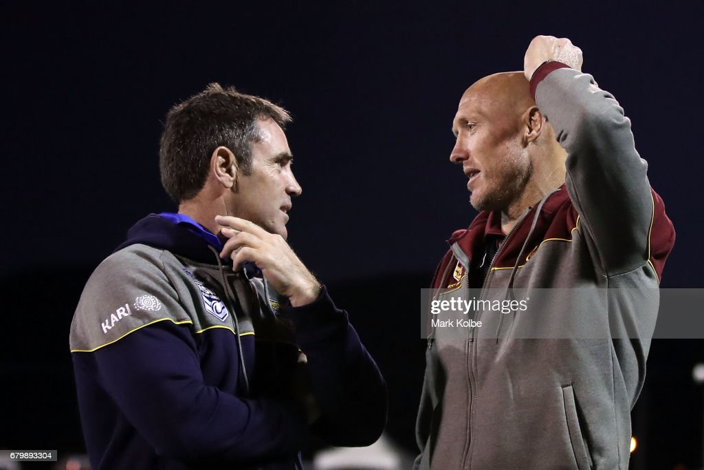 City coach Brad Fittler and Country coach Craig Fitzgibbon speak after the of the 2017 City versus Country Origin match at Glen Willow Sports Ground on May 7, 2017 in Mudgee, Australia.