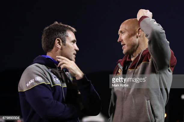 City coach Brad Fittler and Country coach Craig Fitzgibbon speak after the of the 2017 City versus Country Origin match at Glen Willow Sports Ground...