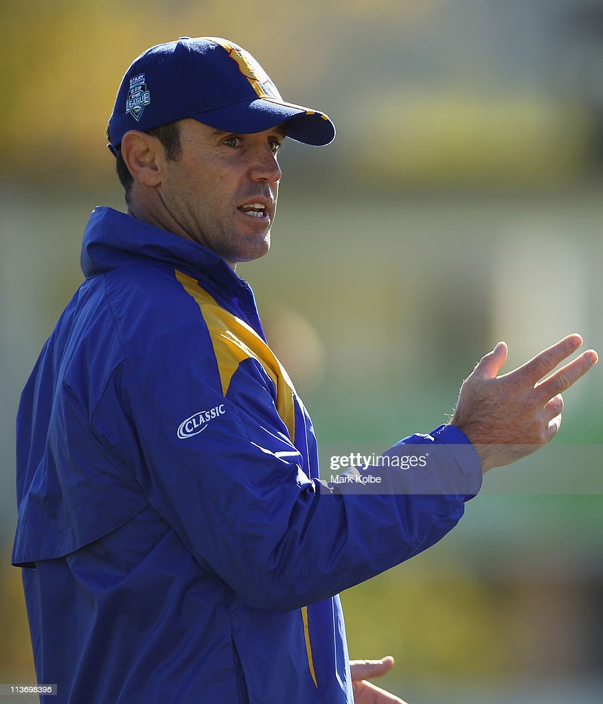 City coach Brad Fittler speaks to his players during a City Origin training session at Lavington Sports Ground on May 5, 2011 in Albury, Australia.
