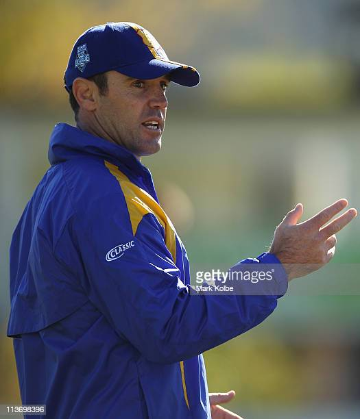 City coach Brad Fittler speaks to his players during a City Origin training session at Lavington Sports Ground on May 5 2011 in Albury Australia