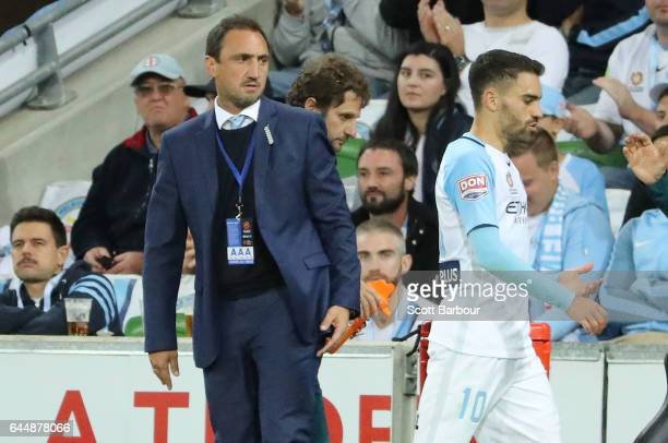 City coach Michael Valkanis looks on during the round 21 ALeague match between Melbourne City and Sydney FC at AAMI Park on February 24 2017 in...
