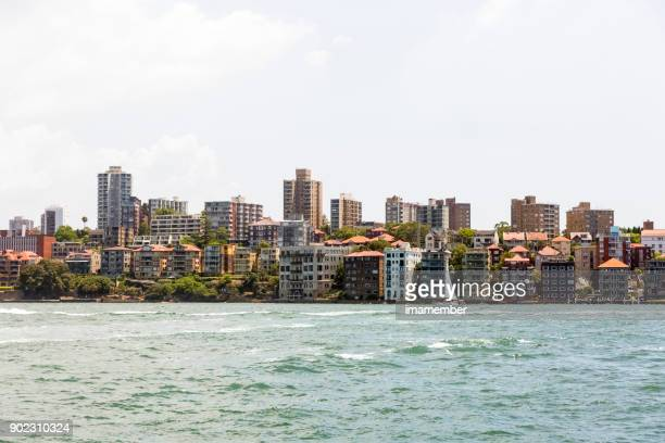 City coastline, beuatiful suburb of Sydney, background with copy space