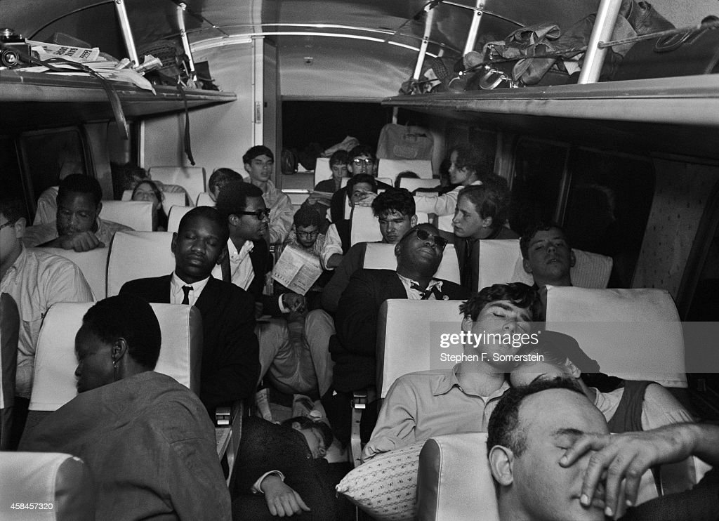 City College of New York (CCNY) students sleeping ovenight on bus to meet up with the Selma to Montgomery civil rights march. On March 24, 1965