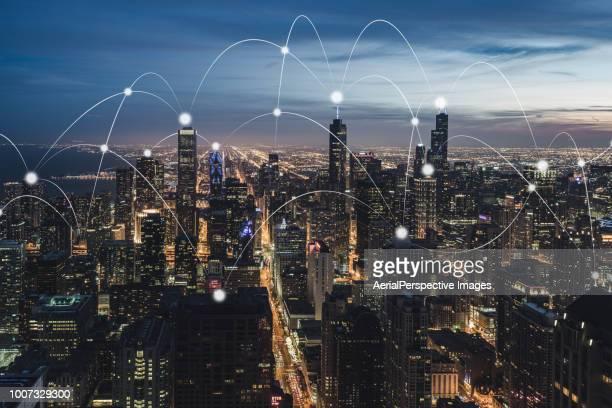 city communication technology of chicago / illinois, us - big data globe stock pictures, royalty-free photos & images