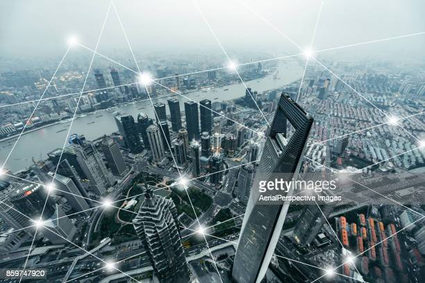 city communication technology - building icon stock photos and pictures