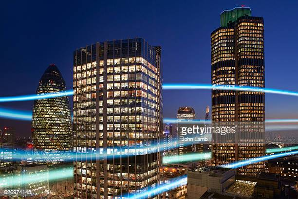 city communications - city stock pictures, royalty-free photos & images
