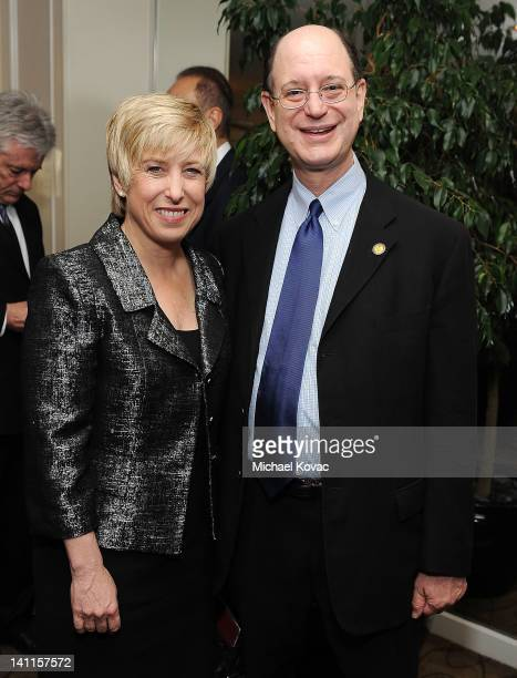 City Controller Wendy Greuel and Congressman Brad Sherman pose for a photo before the President of Israel addressed community leaders and engaged in...
