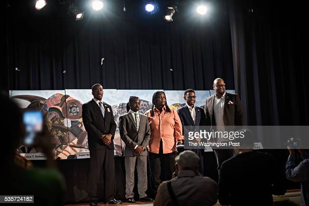 City Council candidates Maurice Dickens Trayon White Bonita Goode and Aaron Holmes after the Ward 8 Democrats' city straw poll endorsement forum at...