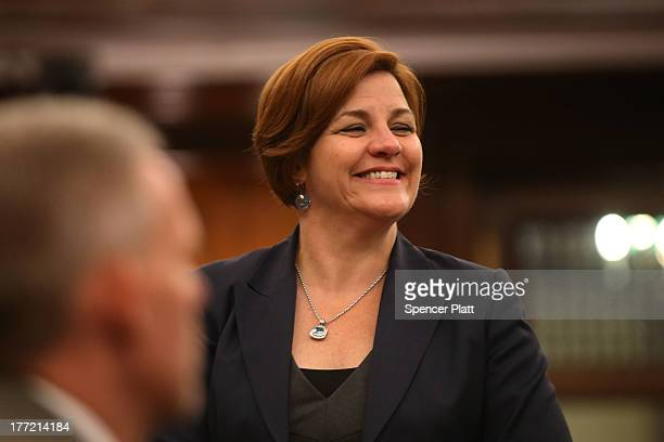 City Council member Christine Quinn votes with other members on whether to bring a motion to the floor to override Mayor Michael Bloomberg's vetoes...