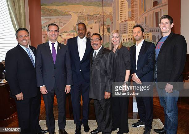 City Council Member Joe Buscaino Los Angeles Mayor Eric Garcetti recording artist Jay Z Council President Herb Wesson United Way President CEO Elise...