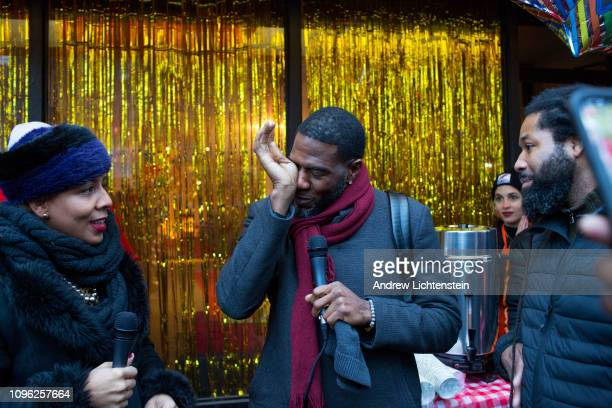 City council member Jumaane Williams wipes away tears as he joins antigun violence activists to celebrate the opening of a new office and community...