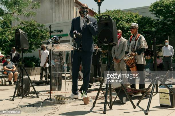 City Council Member Robert Cornegy speaks at a ceremony commemorating victims of police violence on June 9, 2020 in from the Bedford Stuyvesant...