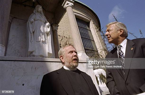 City Council Speaker Peter Vallone and the Rev Gray Rogers pastor of St Gregory the Great Church on Brooklyn Ave in Crown Heights stand before the...