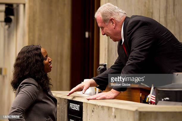 City Councillor Atlarge Ayanna Pressley greets city councillors including President Atlarge Stephen J Murphy as they congratulated her on her...