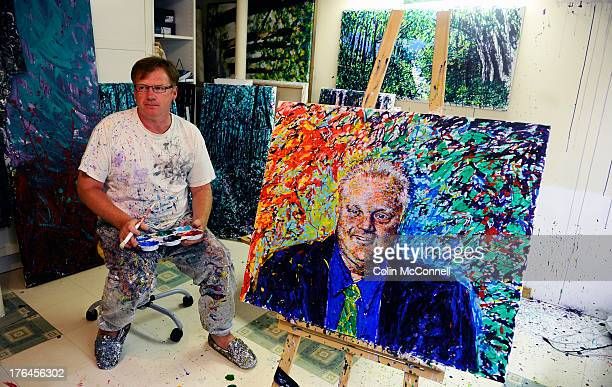 TORONTO ON AUGUST 12 City councillor Gary Crawford working on his painting of Mayor Rob Ford that has taken months and is a labour of loveHe is...