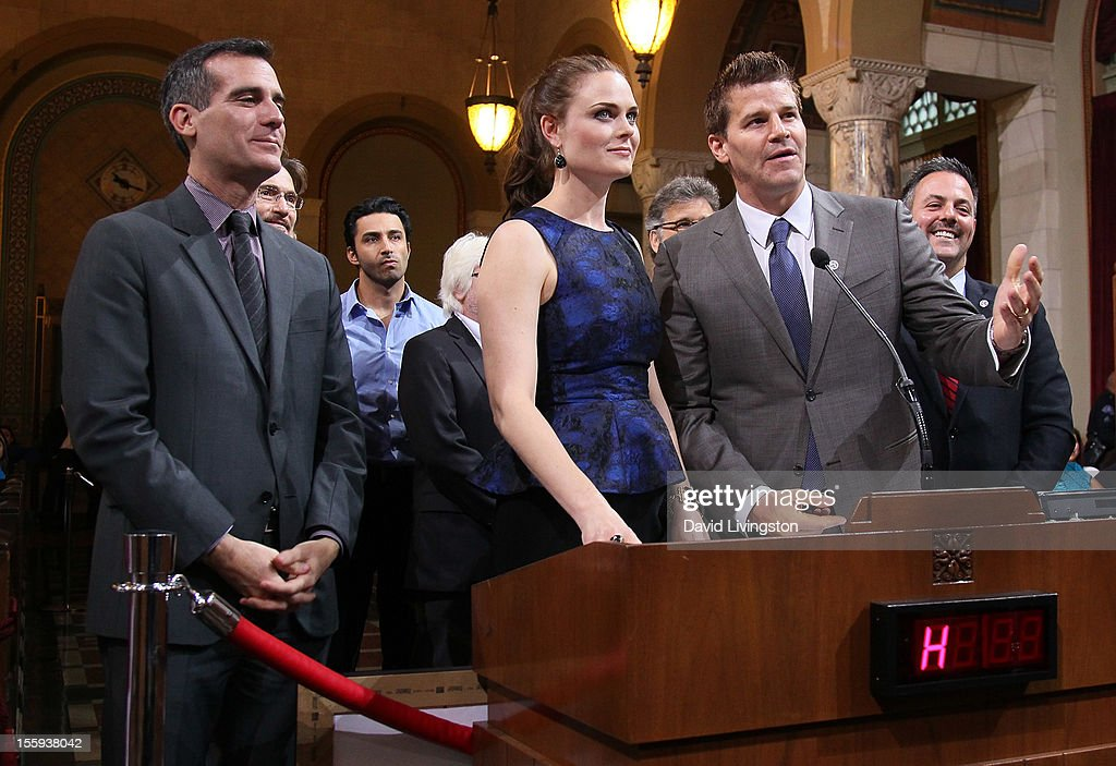 LA City Councilmember Eric Garcetti and actors Emily Deschanel and David Boreanaz attend the LA City Council Chambers proclamation ceremony for Fox's 'Bones' at City Hall Council Chambers on November 9, 2012 in Los Angeles, California.