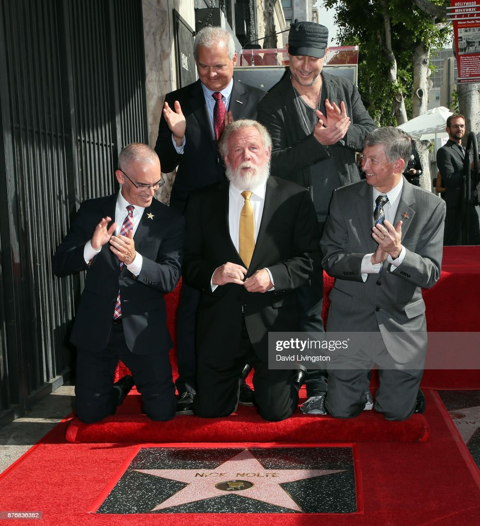 LA City Councilmember Mitch O'Farrell, Hollywood Chamber of Commerce Chair of the Board Jeff Zarrinnam, actor Nick Nolte, director Gavin O'Connor and Hollywood Chamber of Commerce president and CEO Leron Gubler attend Nick Nolte being honored with a Star on the Hollywood Walk of Fame on November 20, 2017 in Hollywood, California.