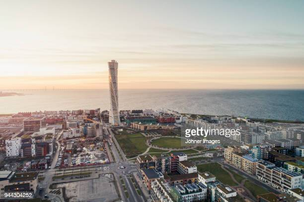 city district at dawn - malmo stock pictures, royalty-free photos & images