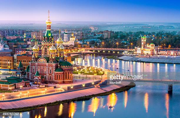 city embankment at night with illumination - russian culture stock pictures, royalty-free photos & images