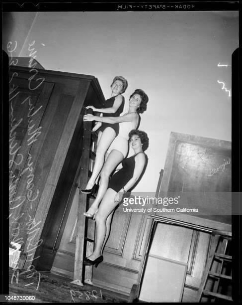 City employees beauty contest 29 November 1960 Arch FieldConnie Sue MooreArdy StephensGeorgia MartinCaption slip reads 'Photographer Mitchell Date...