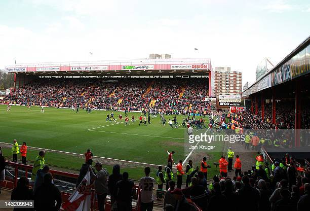 City fans invade the pitch after the final whistle during the npower Championship match between Bristol City and Barnsley at Ashton Gate on April 21...
