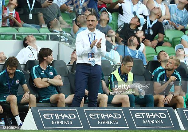 City FC interim coach Michael Valkanis reacts on the sideline during the round 14 ALeague match between Melbourne City FC and the Western Sydney...